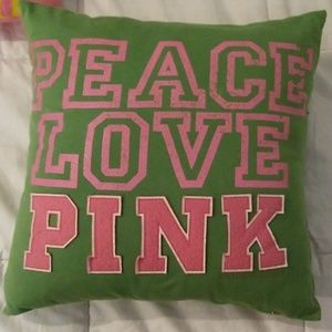 "Pink vs ""PEACE LOVE PINK"" Throw Pillow Vintage"